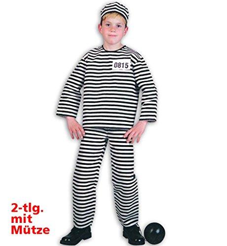 Kinderkostüm Sträfling 2-tlg. bestehend aus Oberteil und Hose mit Mütze schwarz-weiß gestreift langärmelig und