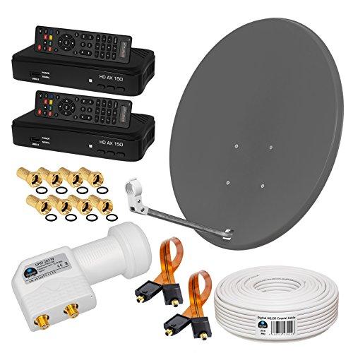 HB-Digital SAT-Komplett-Set: 2X HD Digital Receiver, 80 cm Antenne (Anthrazit), Twin LNB (Weiß), SAT-Kabel, Fensterdurchführung, F-Stecker