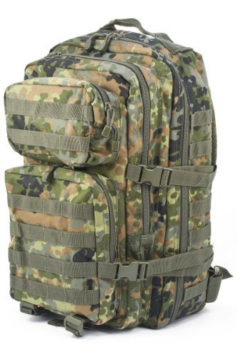 Mil-Tec Military Army Patrol Molle Assault Pack Tactical Combat Rucksack Backpack Bag 36L Flecktarn Camo by Miltec