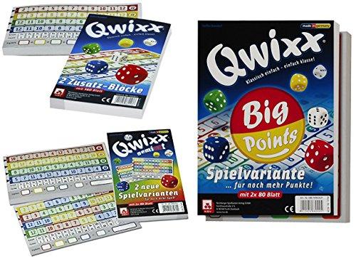 Preisvergleich Produktbild Nürnberger-Spielkarten Set Qwixx-Zusatzblöcke 4016, Qwixx-Gemixxt 4033, Qwixx Big Points 4039 jeweils im 2er-Pack