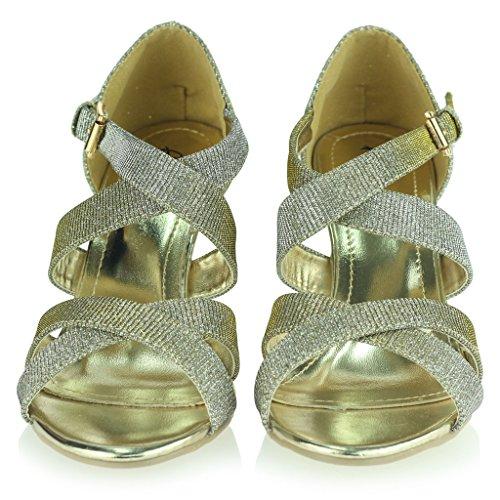 Femmes Dames Miroiter Lanières Talon Haut Plate-Forme Soirée Mariage Bal de Promo Sandale Chaussures Taille Étain