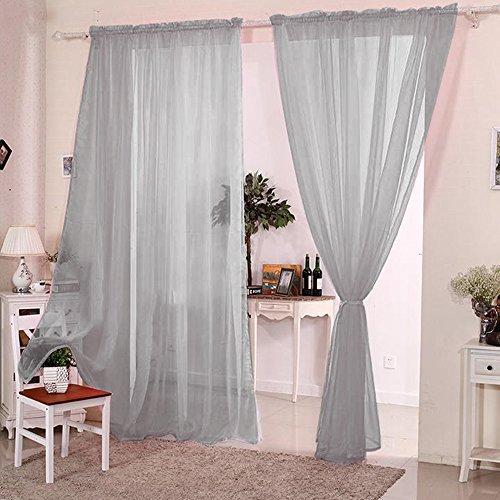 Voile Curtains Grey: Amazon.co.uk