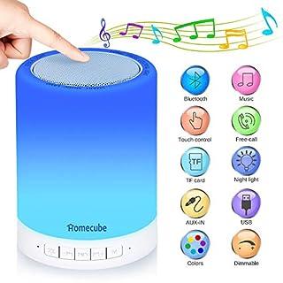 Homecube Lampe mit Bluetooth Lautsprecher,USB Wiederaufladbare Smart Touch Panel Nachtlicht Musik Spielen RGB Farbwechsel SD Karte Tischlampe für Schlafzimmer Baby Kinder Geschenke (Tragbarer Griff)