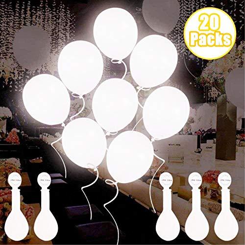 Globos de luz LED blancos, Globos LED Luz para Fiesta Boda Fiesta Cumpleaños Navidad Reunión Ceremonia Blanco, 20 paquetes