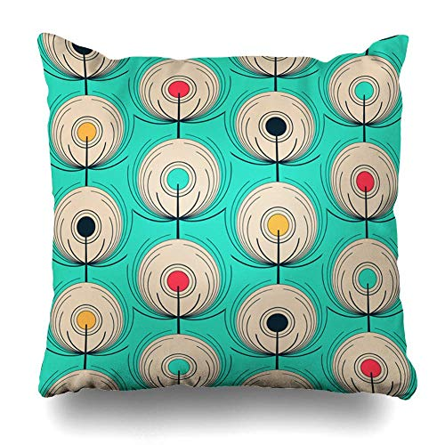 Klotr Kissenbezug Feathers Abstract Fantasy Peacocks in Ivory Blue Tile Red Yellow Bird East Exotic Eyes Geometric Pillowcase Square Size 18 X 18 Inches Zippered Home Decor Cushion Case