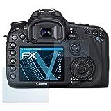 atFoliX Lámina Protectora de Pantalla para Canon EOS 7D Película Protectora - Set de 3 FX-Clear Ultra Transparente Protector Película