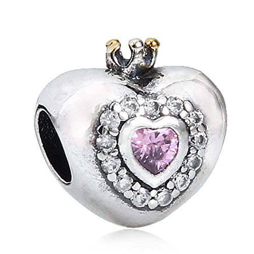 Princess charm a forma di cuore con portafortuna in argento sterling 925placcato in oro rosa con ciondolo a forma di cuore con crown bead fits charms europea