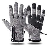 BeiLan Damen und Herren Wasserdichter Touchscreen Handschuhe Winter Fahrradhandschuhe Laufhandschuhe Sporthandschuh mit Touchscreen Funktion, Grau,M