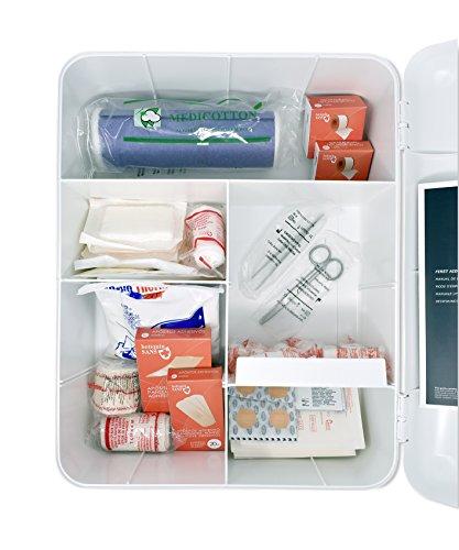 51KFY8IZDhL - Botiquín Armario de primeros auxilios para pared - con 95 artículos indispensables para realizar curas de emergencia, blanco