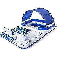 YGSYSC Tropical Breeze Grande Isla Flotante de balsa, Salón Fitsup a 8-10 Personas, Ideal for la Piscina, Lago, río