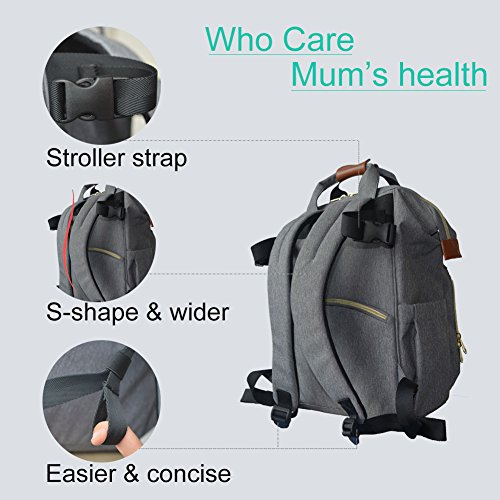 HoHope Nappy Changing Bag Diaper Backpack with Insulated Pockets Stroller Straps and Changing Mat