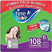 Fine Baby Diapers, DoubleLock Technology , Size 6, Junior 16kg +, Jumbo Pack. 3 packs of 36 diapers, 108 total