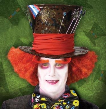 Alice In Wonderland Mad Hatter Orange Adult Costume (Perücke Alice In Für Erwachsene Wonderland)