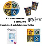 Uni que Harry Potter Party-Set,Geburtstag, 36 telle for 8 Kinder (8 Teller, 8 Becher, 20 Servietten, 10 Magische Kerzen ) Dekoration