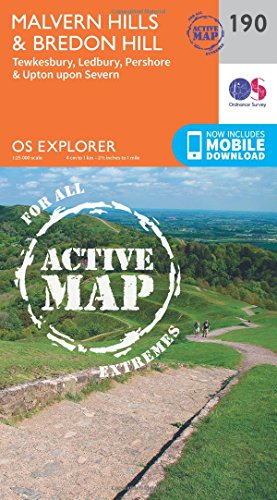 OS Explorer Map Active (190) Malvern Hills and Bredon Hill