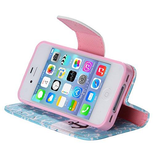 SpiritSun PU Leder Wallet Stil Schutzhülle für Apple iPhone 5 5S Hülle Flip Case Klapp Etui Standfunktion Cover und Magnet Verschluss Abdeckung Stoßfeste Handy Tasche Kredit Kartenfächer mit Stylus Pe Anker
