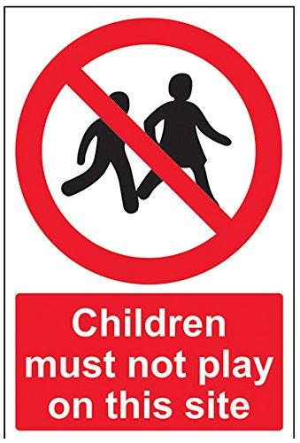 vsafety 52029au-s Kinder müssen nicht Seite Spielen auf diesem Verbot Zugang Schild, selbstklebend, Portrait, 200mm x 300mm, schwarz/rot