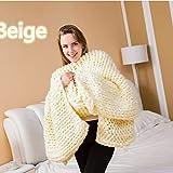 GIFT Handgemachte Gestrickte Wurfdecken Wollgarn Stricken Decke Handgefertigten Riesigen Chunky Wolle Stricken Werfen Sofa Decke,Beige-130 * 170cm
