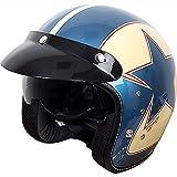 Duchinni D501 Ouvert Rétro Casque Moto Bleu/Rouge - Rouge/Bleu, Small