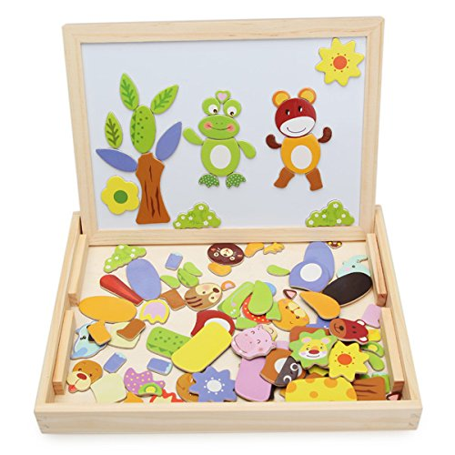 REALACC Bambini Educazione Learning Wooden Magnetic Lavagna Jigsaw Puzzle Giocattoli