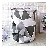 ZXXFR Baumwolle Bast Stoff Wäschekorb Badezimmer Verbrauchsmaterialien Warenkorb Klappbare Aufbewahrungsbox (40 X 50 cm), Graues Dreieck Gradient
