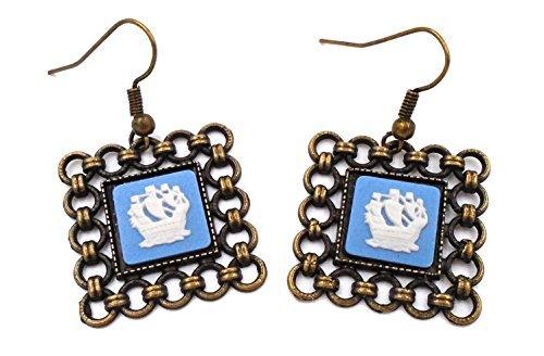 Wedgwood: Messing & Blau Jasperware Ohrringe