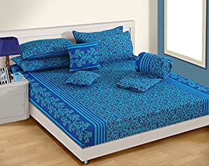 Swayam Shades of India Ethnic Cotton Double Bedsheet with 2 Pillow Covers - Multicolor (SOID-10203 )