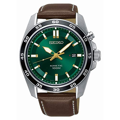 Seiko Herren Analog Kinetik Uhr mit Leder Armband SKA791P1 - Grün Leder-snap