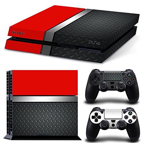 46 North Design Ps4 Playstation 4 Pegatinas De La Consola Red Silver Metal + 2 Pegatinas Del Controlador 51KFbt3rQaL