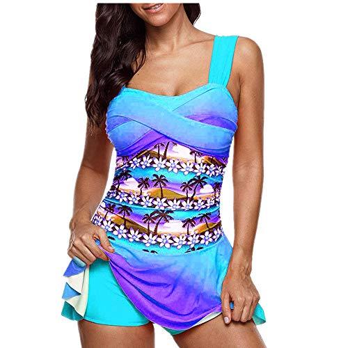 Asalinao Color Gradient Print Women's Plus Size Bikini Tankini Swim Dress Swimsuit Beachwear Padded Swimwear Women Plus Size Beachwear Swimwear Bikini Set -