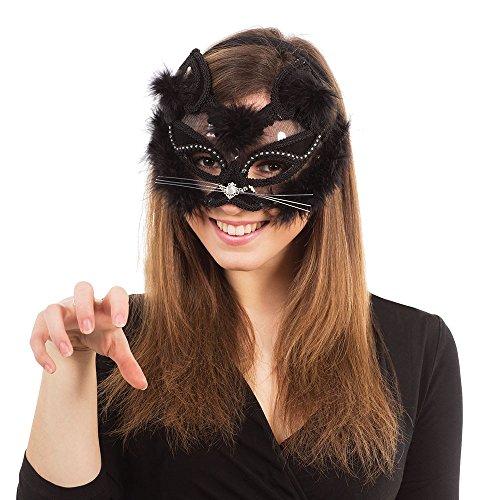 3transparent Cat Eye Maske auf, Kopfband, Schwarz, One size (Maskerade Ball Party Ideen)