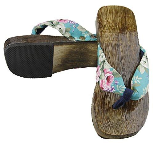 Tongs de Plage et Piscine Sandales Solide Paulownia Chaussures en Bois Antidérapage Chaussons Santé Confortable Pantoufles dété pour Femmes Bleu Clair