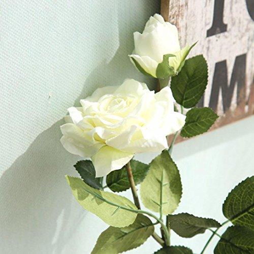 Longra Wohnaccessoires & Deko Kunstblumen & -pflanzen Künstliche Flanell Touch Rose Blumen für Hochzeit Party Home Design Bouquet Dekor Blumen (white)