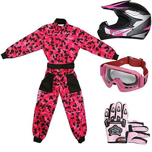 Leopard LEO-X19 Rosa Kinder Motocrosshelme Motorradhelm (L 53-54cm)+ Handschuhe (L 7cm) + Brille + Kinder Motocross CAMO Anzug - S (5-6 Jahre alt) Rosa L/s Camo