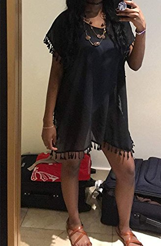 Garsumiss Damen Strandponcho Sommer Kaftan mit Quaste Strandkleid Badeanzug Bikini Cover Up