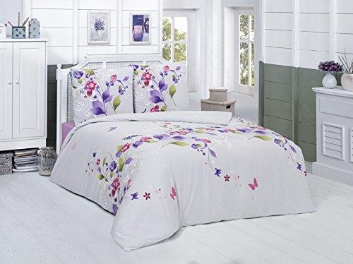 G. Baumwolle Renforcé Reißverschluss, 200x220 cm, Lila, Blumen Rosen ()