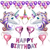 Nvetls 56Pcs Decoración Cumpleaños Unicornio Decoración Fiesta Cumpleaños Niños con Globos y Diadema Unicornio