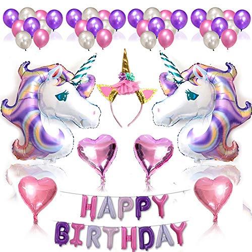 Nvetls 56Pcs Einhorn Luftballons Geburtstag Set Einhorn Party Deko mit Einhorn Stirnband (Lila) (Geburtstag Sachen Für Mädchen)
