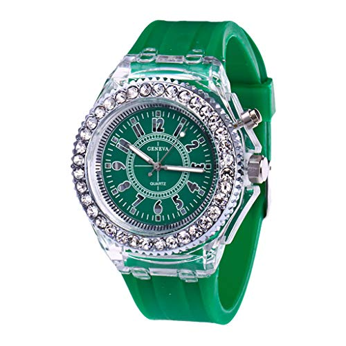 UINGKID Damen Armbanduhr Analog Quarz Mode Transparente Neutral Leuchtende Weibliche Silikonband Sportuhr