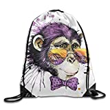 Cool Monkey Chimpanzee T Shirt Graphics Monkey Illustration with Splash Watercolor Textured Drawstring Bags Travel Backpack for Teens College