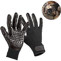Pawaca - Guantes de aseo para mascotas, izquierdo y derecho, cinco dedos de goma, cepillo de masaje, guantes para mascotas eficientes, herramienta de masaje con cinco dedos mejorados, perfecto para gatos, perros y caballos – pelo largo y corto
