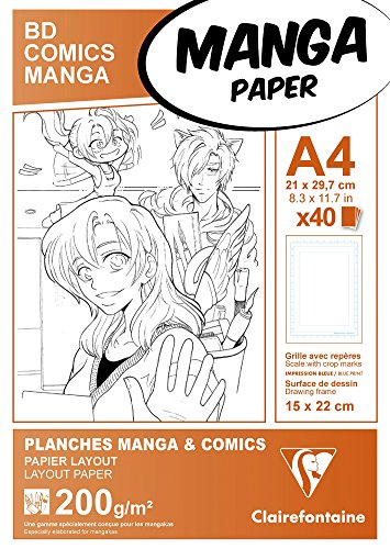 Clairefontaine 94045C Manga Etui BD/Comic (DIN A4, 21 x 29,7 cm, 40 Blatt, 200 g, geeignet für Filzmarker mit Alkohol, mit einfachem Raster) weiß (Manga Band)