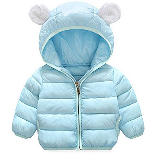 ARAUS-Baby Winter Jacke Jungen Mädchen Mäntel mit Kapuze Herbst Winter wattierte Jacke warme Steppjacke 0-4 Alter Blau 70