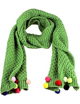 Autunno inverno Fashion Girl a maglia caldo Candy color scialle frange sciarpe Green