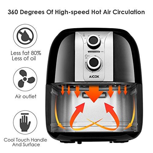 Aicok Heißluftfritteuse, Fritteuse ohne Öl, Gesund, Sicher und Multifunktional, Einstellbare Temperatur & Timer - 4