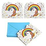Kesoto Set di 24 Biglietti d'Invito di Unicorno Biglietti d Invito per Battesimo Compleanno di Bambini, 24 Biglietti + 24 Busta
