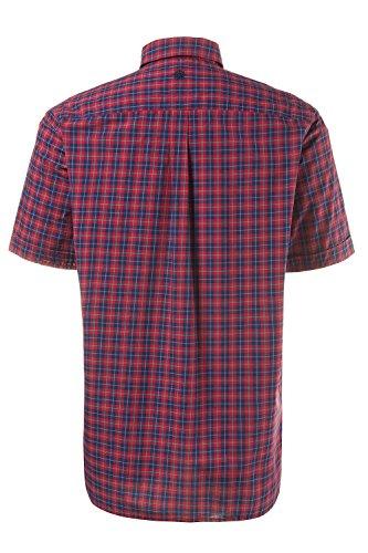 JP 1880 Herren große Größen bis 7XL   Karo Hemd   reine Baumwolle, Halbarm, Buttondown   Comfort Fit, bequem   dunkelrot & dunkelblau kariert   712441 Dunkelrot