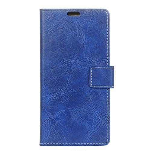 LMFULM® Hülle für Alcatel 5 5086D (5,7 Zoll) PU Leder Magnetverschluss Brieftasche Lederhülle Retro Crazy Horse Muster Stent-Funktion Ledertasche Flip Cover für Alcatel 5 Blau