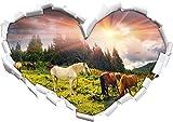 Carpathian Mustangs Pferde auf den Bergen Herzform im 3D-Look , Wand- oder Türaufkleber Format: 92x64,5cm, Wandsticker, Wandtattoo, Wanddekoration