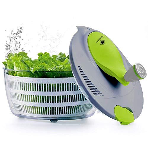 Kalokelvin 1456 Salatschleudertrockner, 4 l, Kunststoff, einfach zu schleudern, um Gemüse zu waschen und zu trocknen